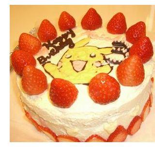 古賀農園の無農薬栽培苺使用、お客様手作りのバースデイケーキ